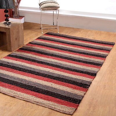 Hand-Woven Black/Red Area Rug Rug Size: 5 x 8