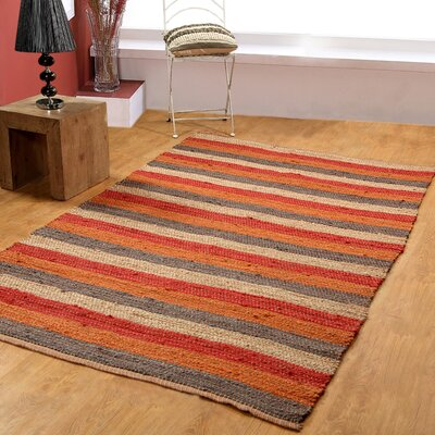 Hand-Woven Red/Rust Area Rug Rug Size: 8 x 10