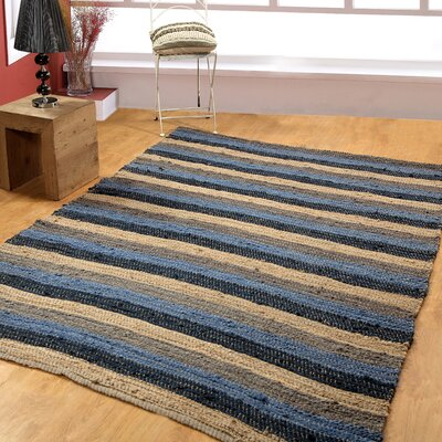 Hand-Woven Blue/Navy Area Rug Rug Size: 6 x 9