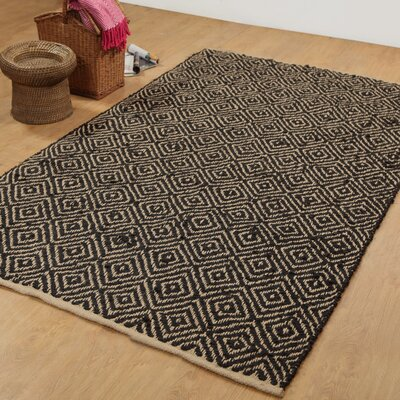 Hand-Woven Black Area Rug Rug Size: 5 x 8