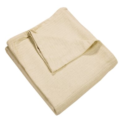 Grant Woven 100% Cotton Throw Blanket Color: Ivory, Size: King