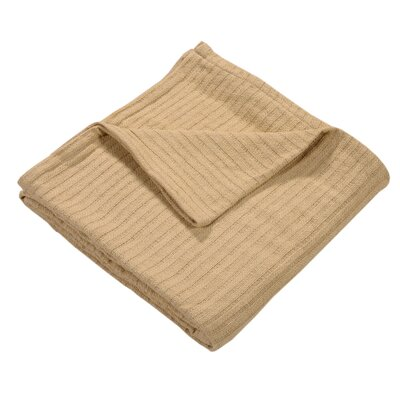 Grant Woven 100% Cotton Throw Blanket Color: Beige, Size: Twin