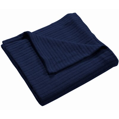 Grant Woven 100% Cotton Throw Blanket Color: Indigo, Size: Twin