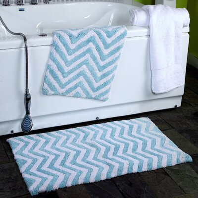 2 Piece Chevron Plush Bath Rug Set