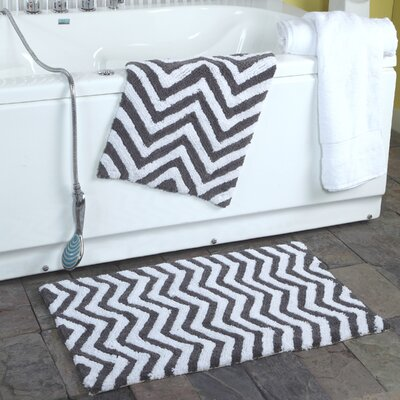 Higgins 2 Piece Chevron Plush Bath Rug Set Color: Charcoal