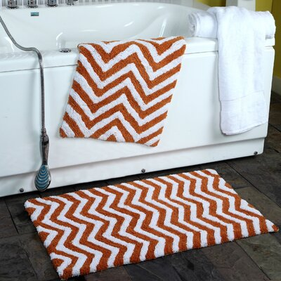 Higgins 2 Piece Chevron Plush Bath Rug Set Color: Copper