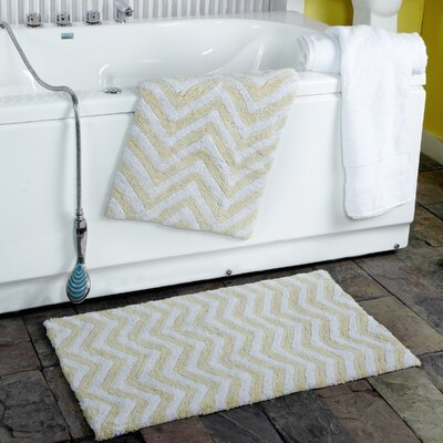 2 Piece Chevron Plush Bath Rug Set Color: Cream
