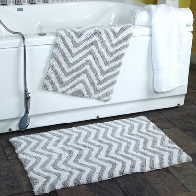 2 Piece Chevron Plush Bath Rug Set Color: Gray