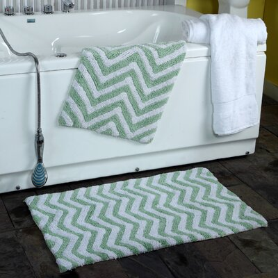 2 Piece Chevron Plush Bath Rug Set Color: Sage