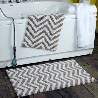 Higgins 2 Piece Chevron Plush Bath Rug Set Color: Taupe