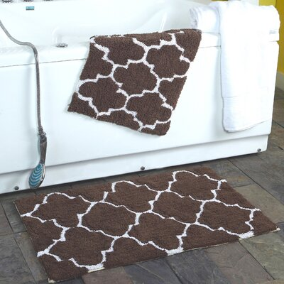 2 Piece Moroccan Trellis Bath Rug Set Color: Chocolate