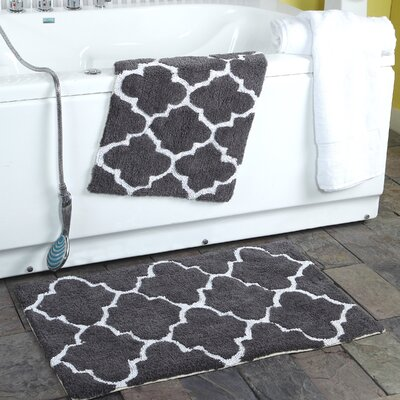 2 Piece Moroccan Trellis Bath Rug Set Color: Charcoal