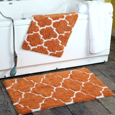 2 Piece Moroccan Trellis Bath Rug Set Color: Copper