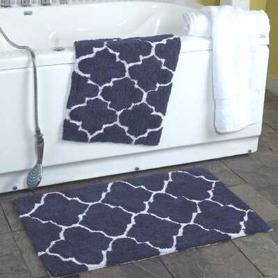 2 Piece Moroccan Trellis Bath Rug Set Color: Denim