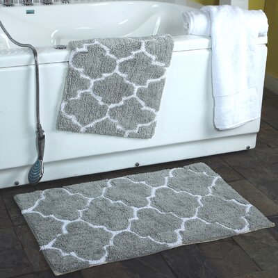 2 Piece Moroccan Trellis Bath Rug Set Color: Gray