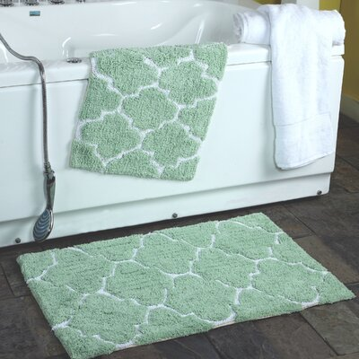 2 Piece Moroccan Trellis Bath Rug Set Color: Sage