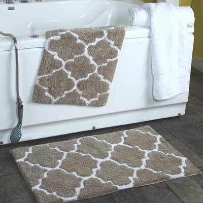 2 Piece Moroccan Trellis Bath Rug Set Color: Taupe