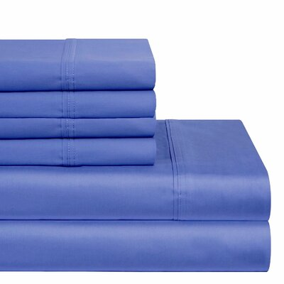 300 Thread Count 100% Cotton Sheet Set Color: Denim, Size: Queen