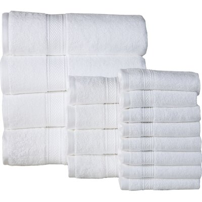 Woolf 16 Piece Cotton Towel Set Color: White
