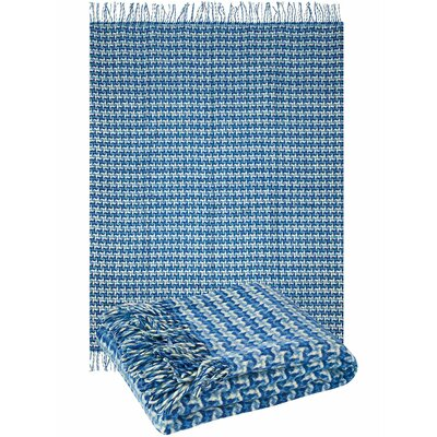 Pure Wool Throw Blanket Color: Light Blue