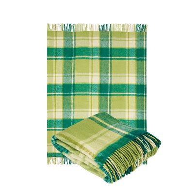 100% Pure Wool Classic Tarten Design Throw Blanket Color: Light Green