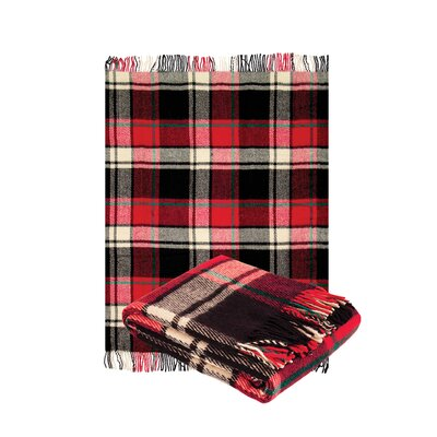 Classic Tarten Design Wool Throw Blanket Color: Red, Size: 79 L x 55 W