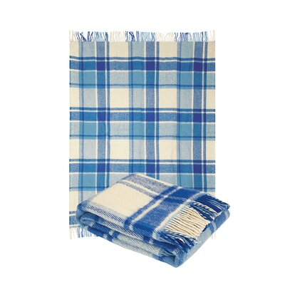Classic Tarten Design Wool Throw Blanket Color: Light Blue, Size: 87 L x 79 W