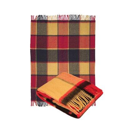 Classic Tarten Design Wool Throw Blanket Color: Red/Mocha