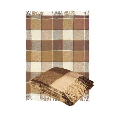 Classic Tarten Design Wool Throw Blanket Color: Camel Beige