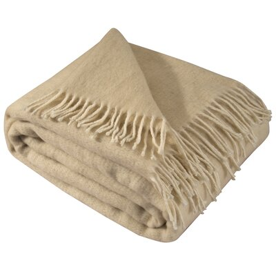 100% Merino Wool Throw Blanket with Fringe  51x71 Color: Beige