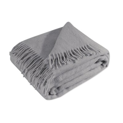 100% Merino Wool Throw Blanket with Fringe  51x71 Color: Grey