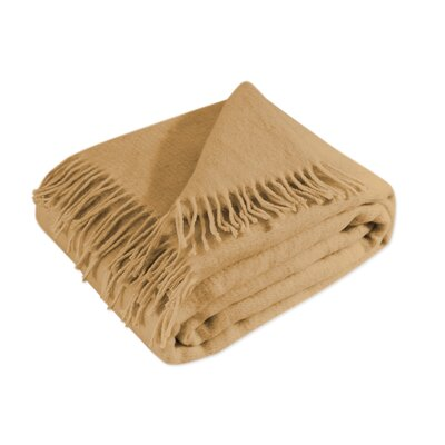 100% Merino Wool Throw Blanket with Fringe  51x71 Color: Mocha