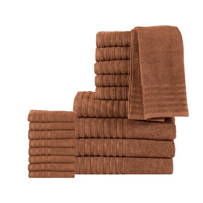 GSM Egyptian Quality Cotton 18 Piece Towel Set Color: Mocha