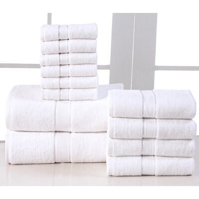 600 GSM Egyptian Quality Cotton 12 Piece Towel Set Color: White