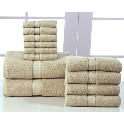 600 GSM Egyptian Quality Cotton 12 Piece Towel Set Color: Taupe