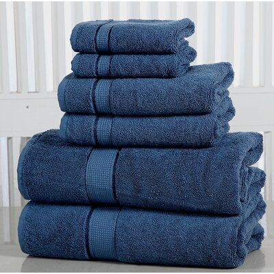 Lucinda Luxurious 6 Piece Towel Set Color: Blue Stone
