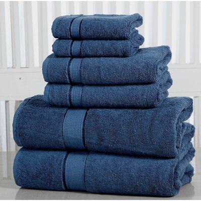 Lucinda Luxurious Cotton 600 GSM 6 Piece Towel Set Color: Blue Stone