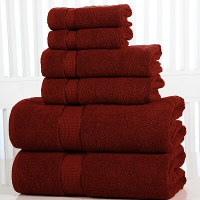 Lucinda Luxurious 6 Piece Towel Set Color: Biking Red