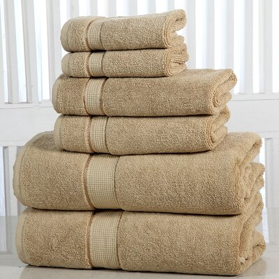 Lucinda Luxurious 6 Piece Towel Set Color: Taupe