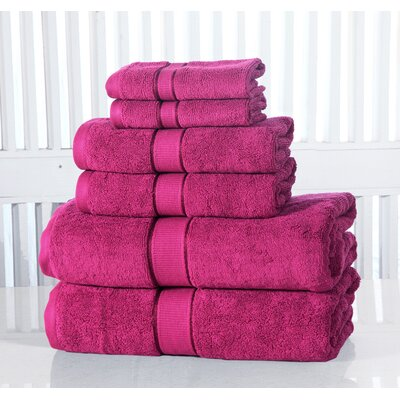 Lucinda Luxurious Cotton 600 GSM 6 Piece Towel Set Color: Plum
