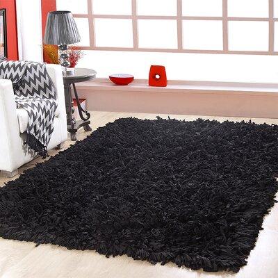 Hand Woven Shag Black Area Rug Rug Size: 4 x 6