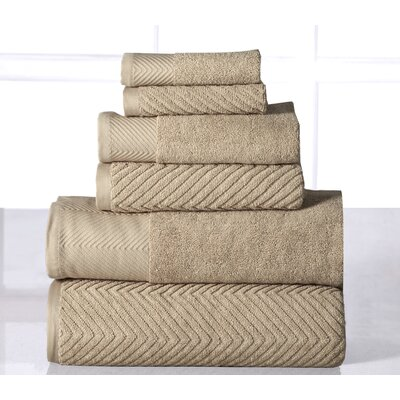 6 Piece Towel Set Color: Beige