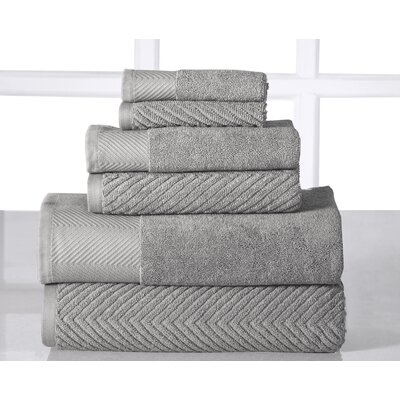 6 Piece Towel Set Color: Platinum