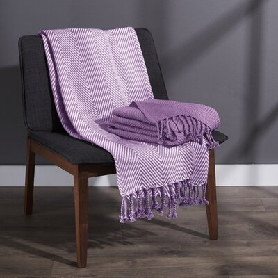 Elegancia Cotton Chevron Throw Blanket Color: Lilac
