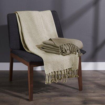 Elegancia Cotton Chevron Throw Blanket Color: Taupe