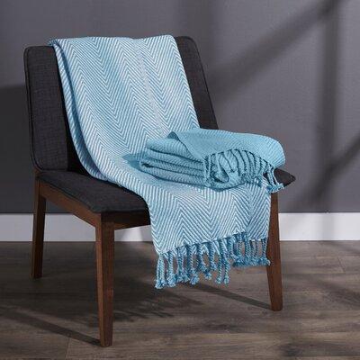 Elegancia Cotton Chevron Throw Blanket Color: Turquise