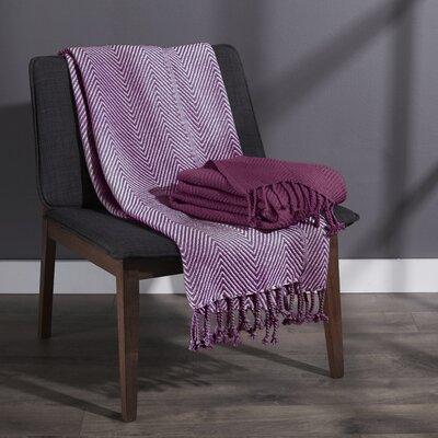 Elegancia Cotton Chevron Throw Blanket Color: Red Plum