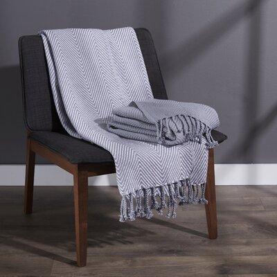 Elegancia Cotton Chevron Throw Blanket Color: Dove Grey
