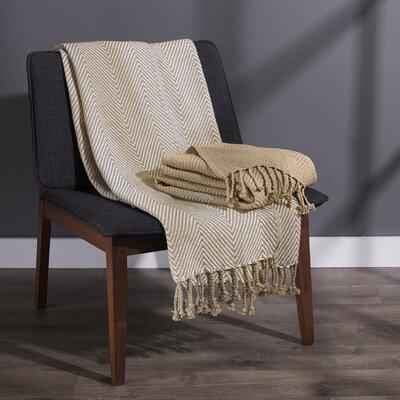 Elegancia Cotton Chevron Throw Blanket Color: Beige