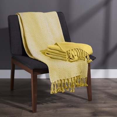 Elegancia Cotton Chevron Throw Blanket Color: Yellow